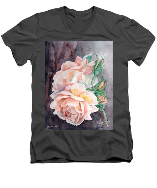 Peach Perfect - Painting Men's V-Neck T-Shirt by Veronica Rickard