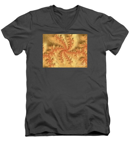 Men's V-Neck T-Shirt featuring the digital art Peaches And Cream by Elaine Teague