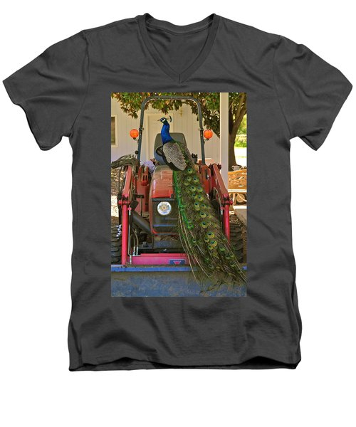 Peacock And His Ride Men's V-Neck T-Shirt