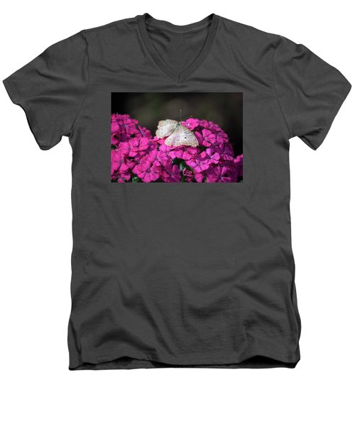 Peacock Butterfly On Fuchsia Phlox Men's V-Neck T-Shirt by Suzanne Gaff