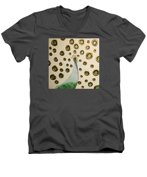 Men's V-Neck T-Shirt featuring the painting Peacock by Edwin Alverio