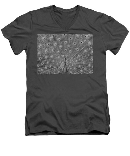 Men's V-Neck T-Shirt featuring the photograph Peacock Fanfare - Black And White by Diane Alexander