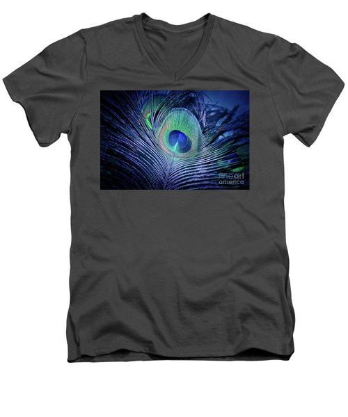 Men's V-Neck T-Shirt featuring the photograph Peacock Feather Blush by Sharon Mau