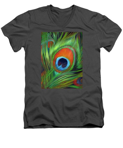 Men's V-Neck T-Shirt featuring the painting Peacock Feather by Nancy Tilles
