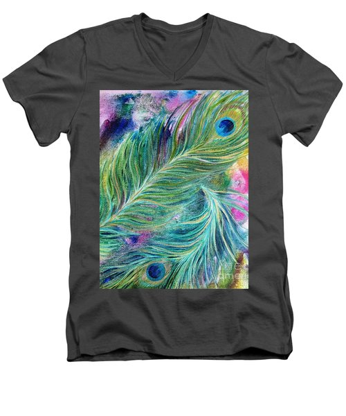 Peacock Feathers Bright Men's V-Neck T-Shirt by Denise Hoag