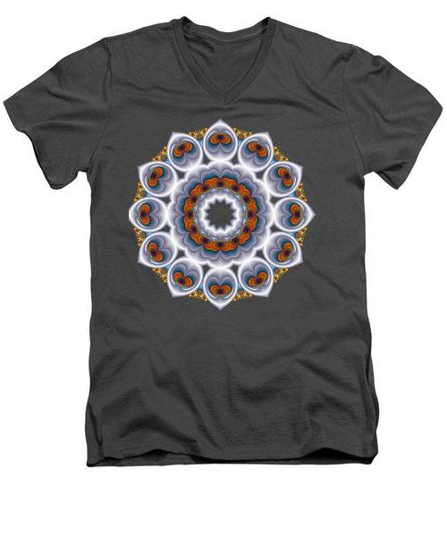 Peacock Fractal Snow Flower Men's V-Neck T-Shirt