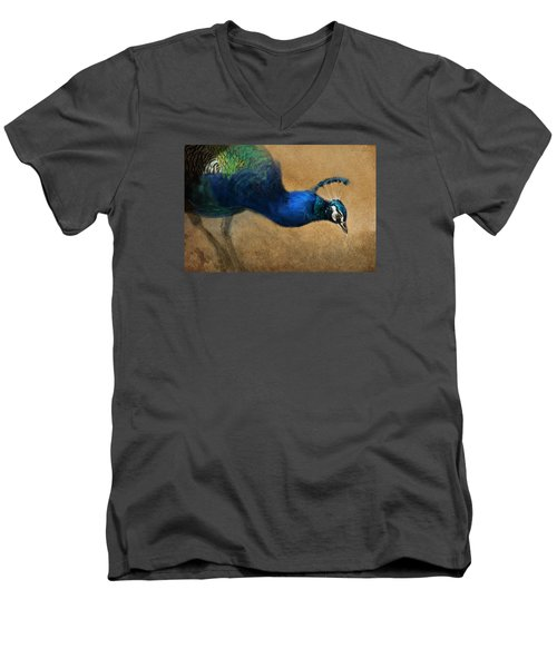 Men's V-Neck T-Shirt featuring the digital art Peacock Light by Aaron Blaise