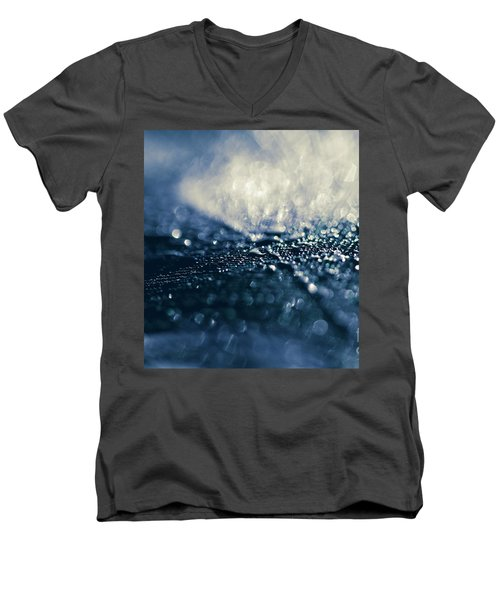 Men's V-Neck T-Shirt featuring the photograph Peacock Macro Feather And Waterdrops by Sharon Mau