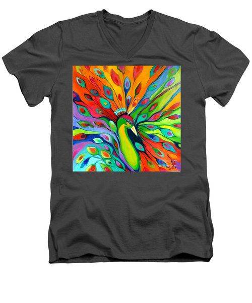 Peacock On The 4th Of July Men's V-Neck T-Shirt by Alison Caltrider