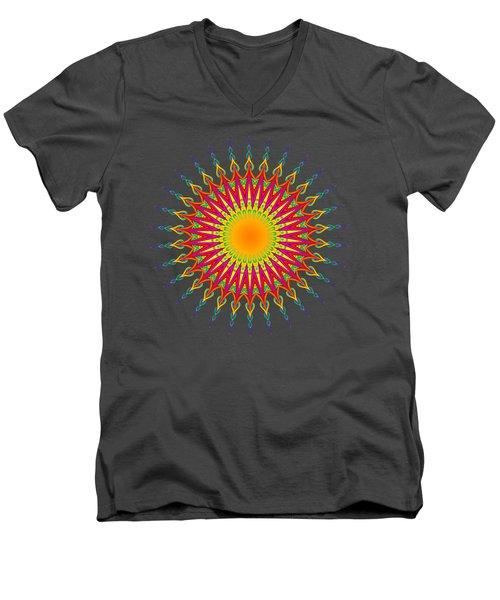 Peacock Sun Mandala Fractal Men's V-Neck T-Shirt