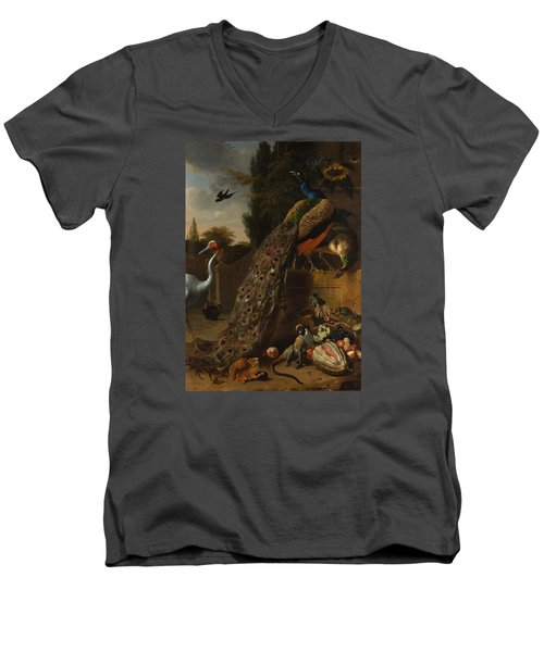 Men's V-Neck T-Shirt featuring the painting Peacocks by Melchior d'Hondecoeter