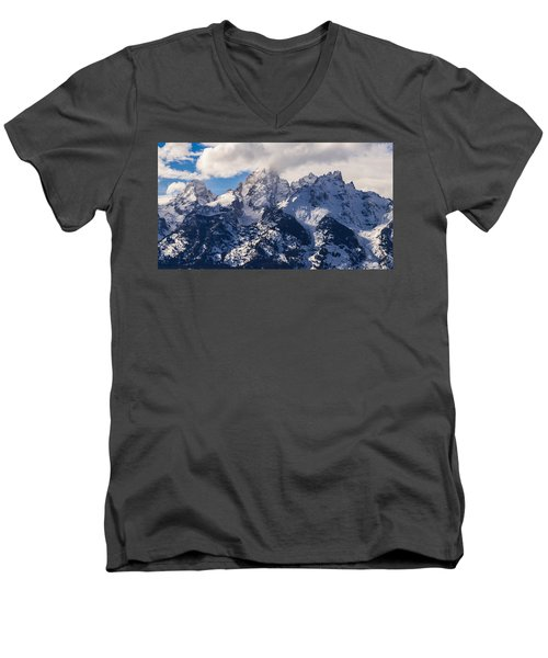 Peaks Of The Tetons Men's V-Neck T-Shirt by Serge Skiba