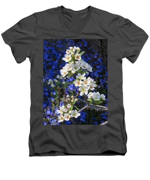 Pear Blossoms And Georgia Blue 2 Men's V-Neck T-Shirt by Brooks Garten Hauschild
