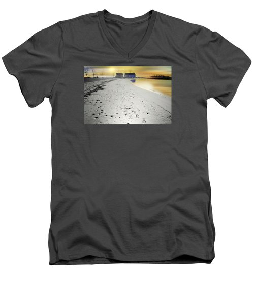 Pear Tree Footsteps Men's V-Neck T-Shirt by Diana Angstadt