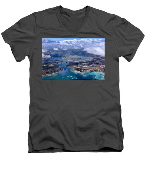 Pearl Harbor Aerial View Men's V-Neck T-Shirt