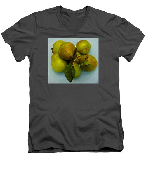 Men's V-Neck T-Shirt featuring the photograph Pears In Blue Bowl by Brenda Pressnall