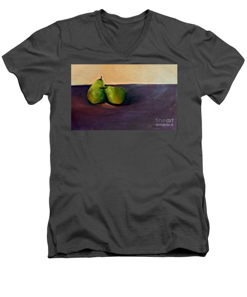 Pears One On One Men's V-Neck T-Shirt by Daun Soden-Greene