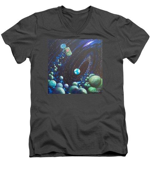 Blaa Kattproduksjoner       Peas On Earth Men's V-Neck T-Shirt