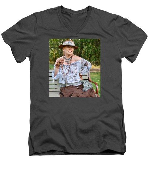 Peasant Allure Men's V-Neck T-Shirt by VLee Watson