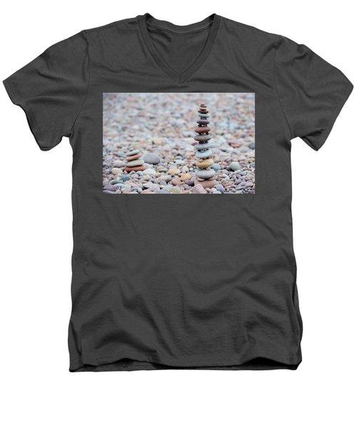Pebble Stack II Men's V-Neck T-Shirt by Helen Northcott