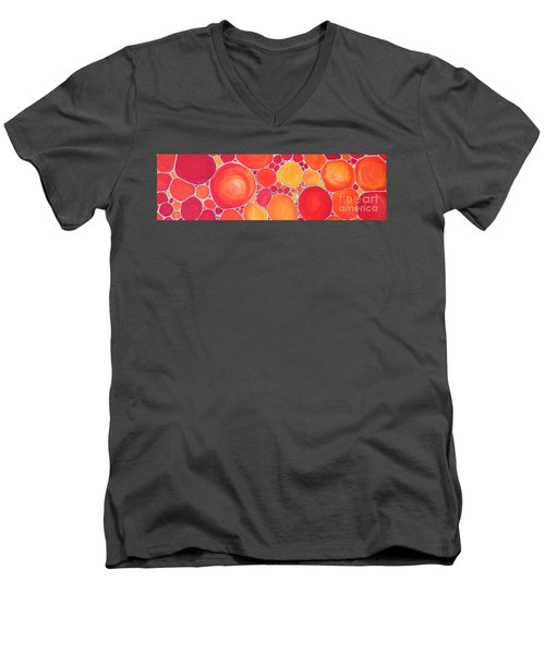 Men's V-Neck T-Shirt featuring the painting Pebbles At Sunset  by Karen Jane Jones