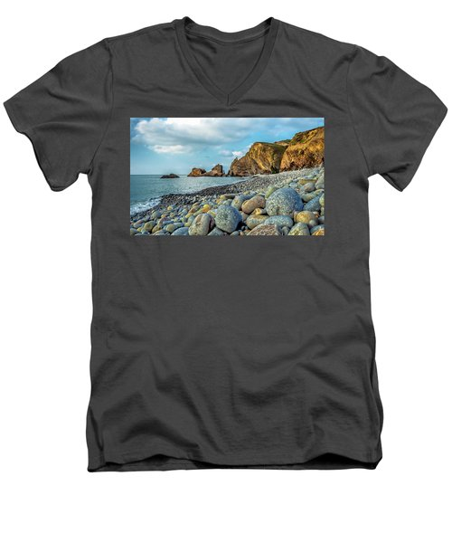 Men's V-Neck T-Shirt featuring the photograph Pebbles On The Beach by Nick Bywater