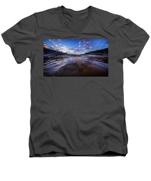 Peddernales Falls Sunset #1 Men's V-Neck T-Shirt by Micah Goff