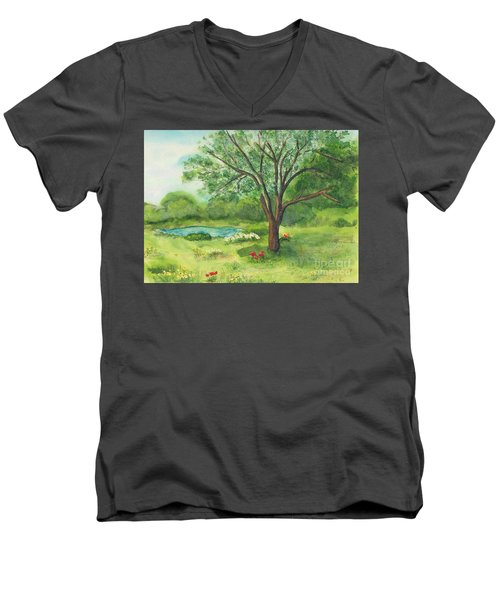 Men's V-Neck T-Shirt featuring the painting Pedro's Tree by Vicki  Housel