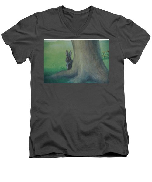 Peek A Boo Behind The Tree Men's V-Neck T-Shirt