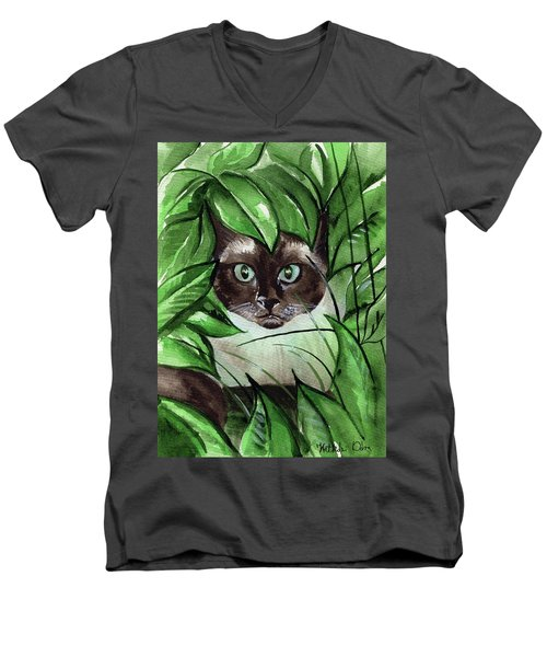 Men's V-Neck T-Shirt featuring the painting Peek A Boo Siamese Cat by Dora Hathazi Mendes