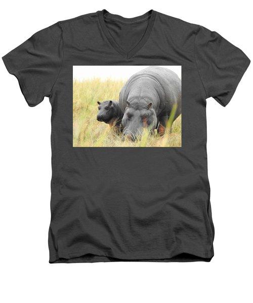 Men's V-Neck T-Shirt featuring the photograph Peek by Betty-Anne McDonald