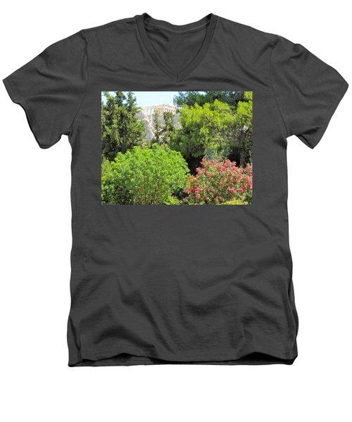 Peek Of The Parthenon Men's V-Neck T-Shirt