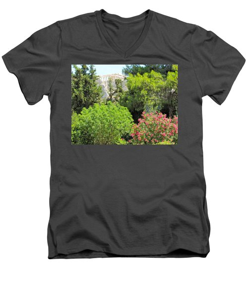 Peek Of The Parthenon Men's V-Neck T-Shirt