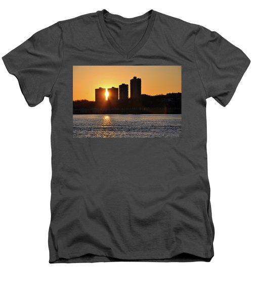 Men's V-Neck T-Shirt featuring the photograph Peekaboo Sunset by Sarah McKoy