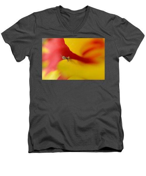 Peeking Men's V-Neck T-Shirt by Janet Rockburn