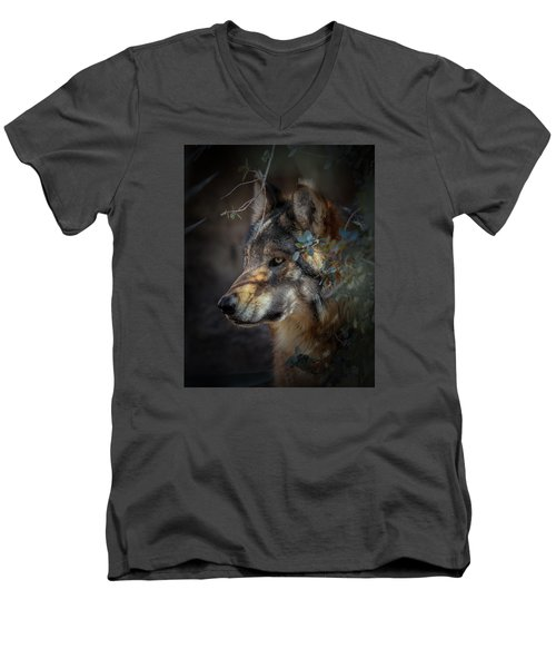 Peeking Out From The Shadows Men's V-Neck T-Shirt by Elaine Malott