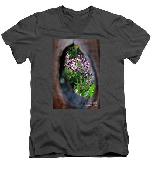 Peephole Garden Men's V-Neck T-Shirt by CML Brown