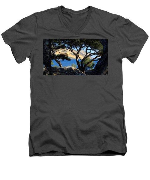 Peeping Through Pines Men's V-Neck T-Shirt
