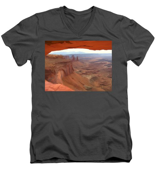 Peering Out 2 Watercolor Men's V-Neck T-Shirt