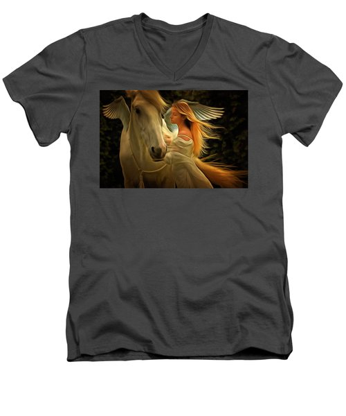Men's V-Neck T-Shirt featuring the painting Pegasus Or Angel by Harry Warrick