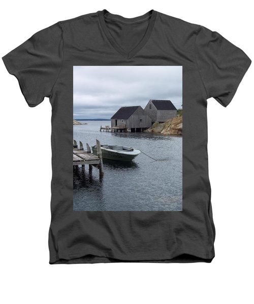 Men's V-Neck T-Shirt featuring the photograph Peggys Cove Canada by Richard Bryce and Family
