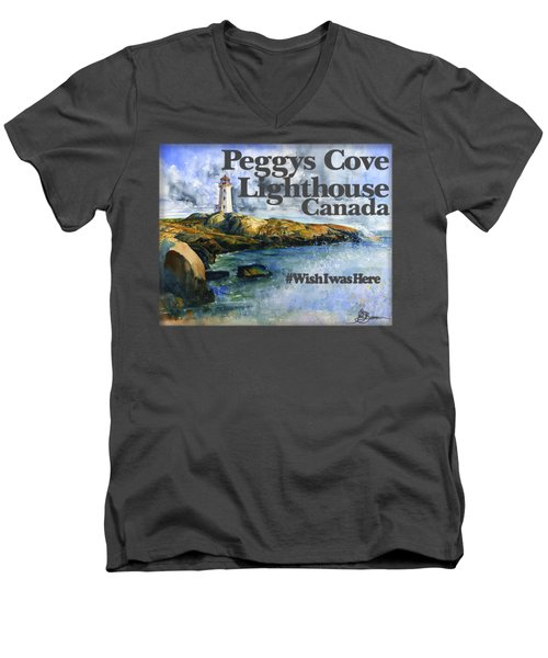 Peggys Cove Lighthouse Shirt Men's V-Neck T-Shirt