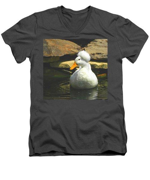 Men's V-Neck T-Shirt featuring the photograph Pekin Pop Top Duck by Sandi OReilly