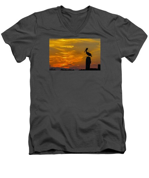 Pelican At Silver Lake Sunset Ocracoke Island Men's V-Neck T-Shirt by Greg Reed