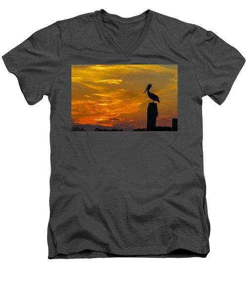Pelican At Silver Lake Sunset Ocracoke Island Men's V-Neck T-Shirt