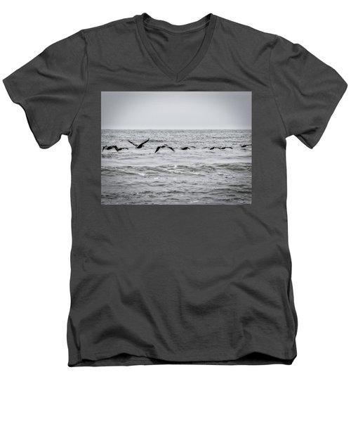 Pelican Black And White Men's V-Neck T-Shirt