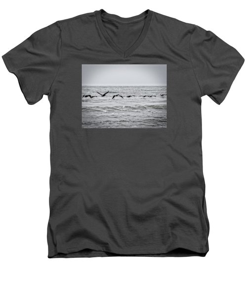 Pelican Black And White Men's V-Neck T-Shirt