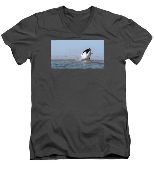 Men's V-Neck T-Shirt featuring the photograph Pelican Fishing 001 by Kevin Chippindall