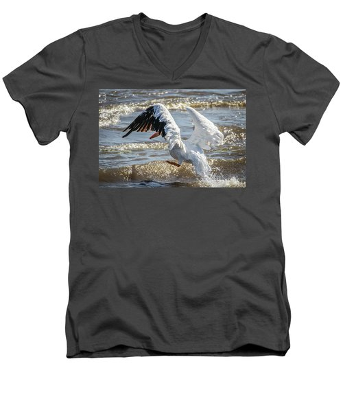 Pelican Jump Men's V-Neck T-Shirt by Ray Congrove