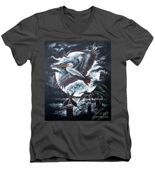 Pelican Moon Men's V-Neck T-Shirt by Scott and Dixie Wiley